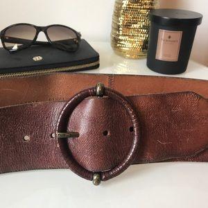Women's Fossil Wide Brown Leather Belt